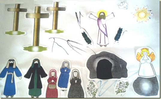 A depiction of Palm Sunday, Good Friday and Easter from our Mija's Special Needs Faith Class.
