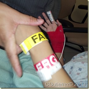 The infamous red bandage and IV were sources of annoyance.